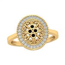 Złoty ażurowy pierścionek z...