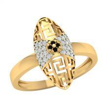 Złoty pierścionek z czarną...