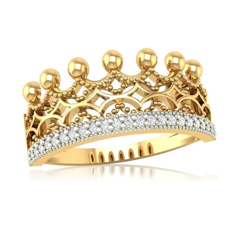 Ażurowy pierścionek korona z żółtego złota