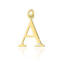 Złota literka A z brylantem