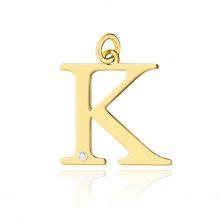 Złota literka K z brylantem