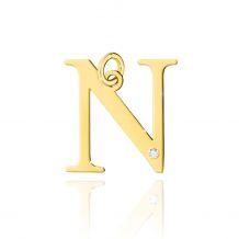 Złota literka N z brylantem