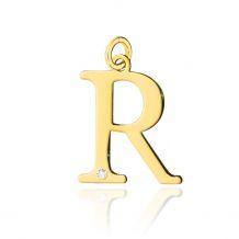 Złota literka R z brylantem