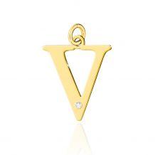 Złota literka V z brylantem