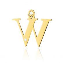 Złota literka W z brylantem
