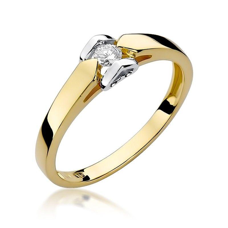 Pierścionek dwuczęściowy z żółtym i białym złotem