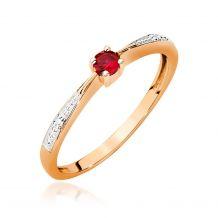 Złoty pierścionek z rubinem...