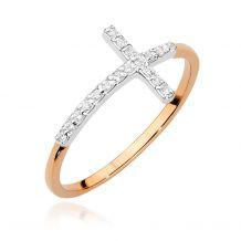 Różowozłoty pierścionek z...