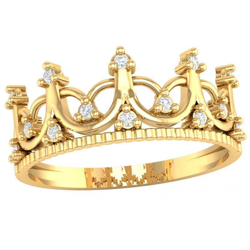 Złoty pierścionek w kształcie korony z cyrkonią