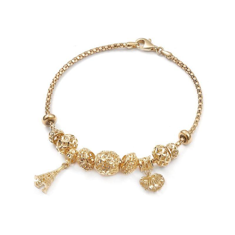 Złota bransoletka damska z zawieszkami