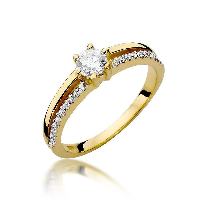 Pierścionek złoto i brylantowy pasek