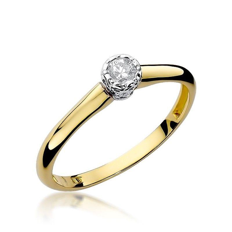 Pierścionek zaręczynowy klasyczny z brylantem 0,13 ct H/Si