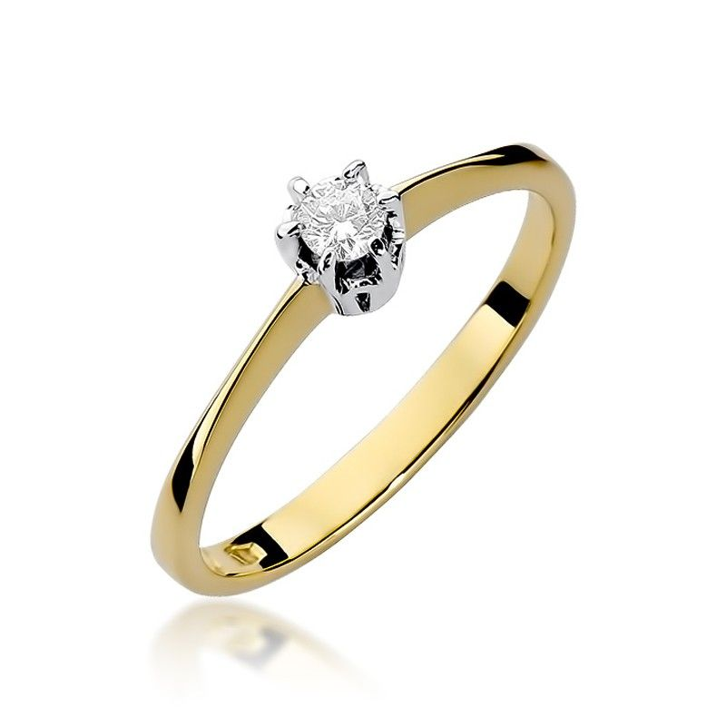 Pierścionek zaręczynowy z małym brylantem