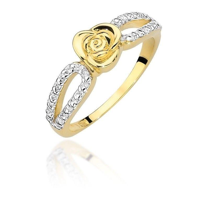 Pierścionek ze złotą różą