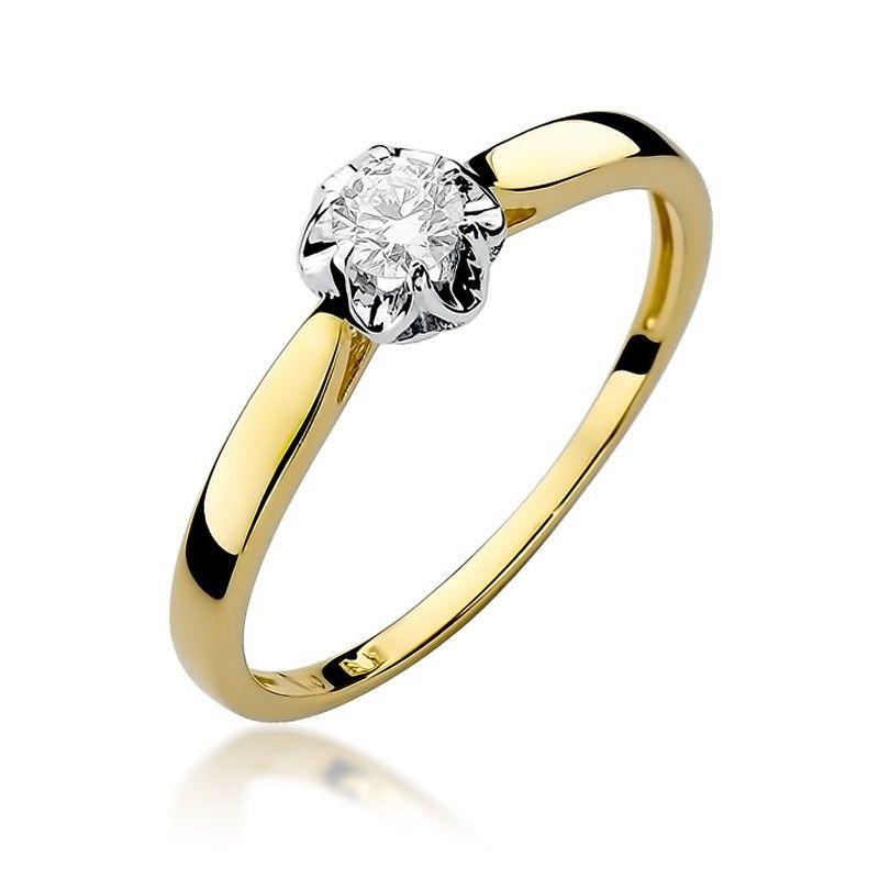 Pierścionek zaręczynowy z brylantem 0,15 ct H/Si