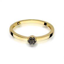 Złoty pierścionek z czarnymi brylantami