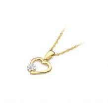 Małe zdjęcie Zawieszka serce z okrągłym brylantem