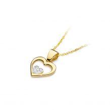 Małe zdjęcie Zawieszka serce z brylantem w środku