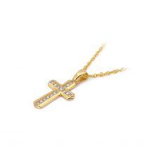 Małe zdjęcie Zawieszka krzyż z małymi brylantami