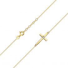Małe zdjęcie Celebrytka złoty krzyżyk z brylantem