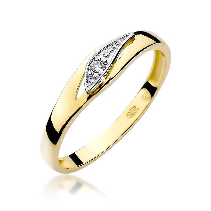 Pieścionek ze złota z delikatnym paskiem