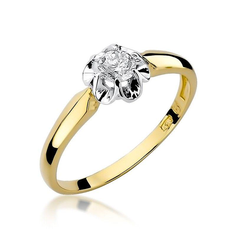 Pierścionek z klasycznym brylantem ze złota