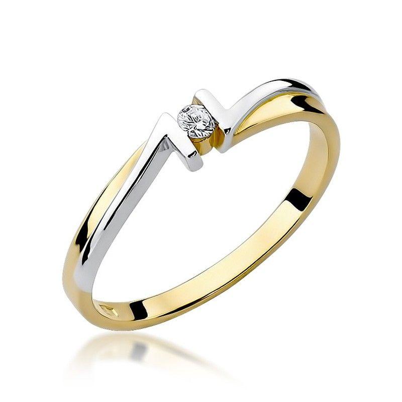 Pierścionek ze złota białego i żółtego