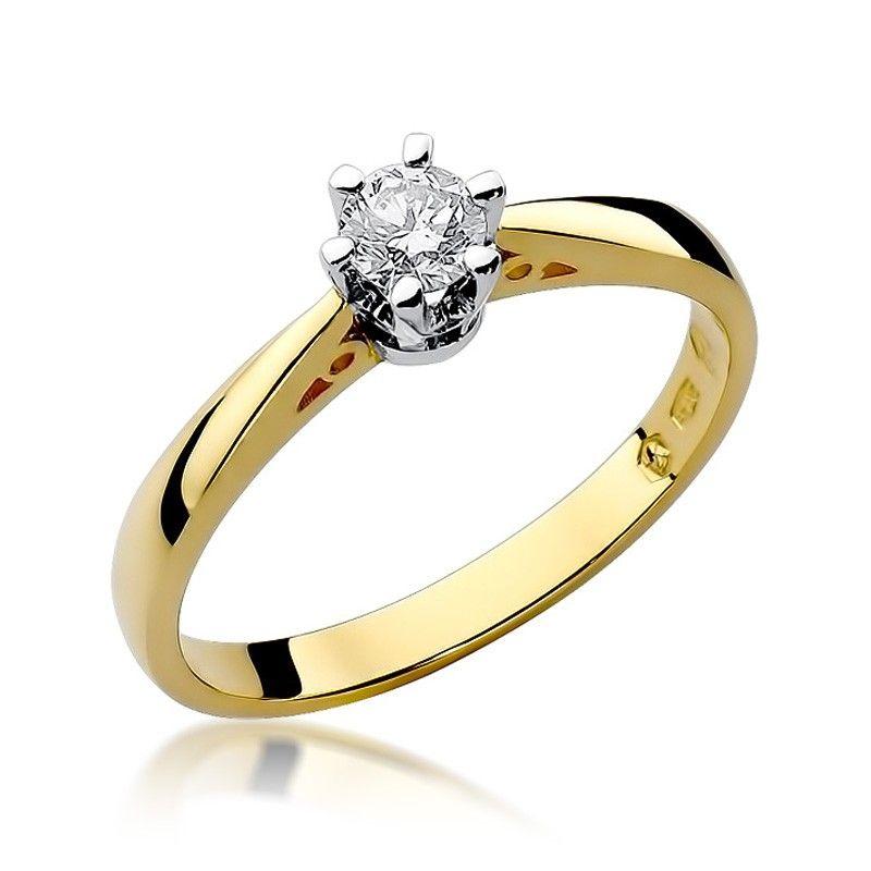 Pierścionek zaręczynowy klasyczny z brylantem 0,25 ct H/Si