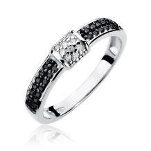 Pierścionek czarno-biały