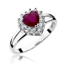 Pierścionek serce z rubinem