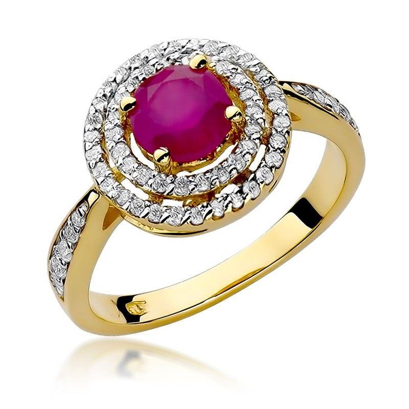 Okrągły pierścionek z rubinem i brylantami