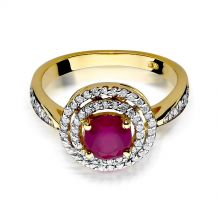Małe zdjęcie Okrągły pierścionek z rubinem i brylantami