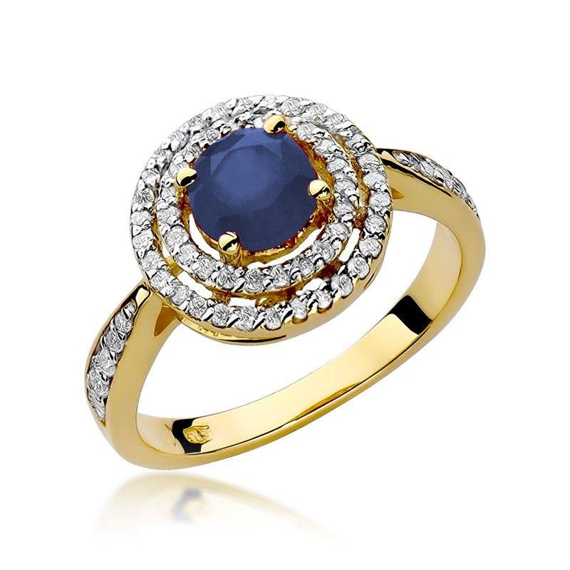 Okrągły pierścionek z szafirem i brylantami