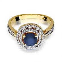 Małe zdjęcie Okrągły pierścionek z szafirem i brylantami