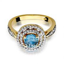 Małe zdjęcie Okrągły pierścionek z topazem i brylantami