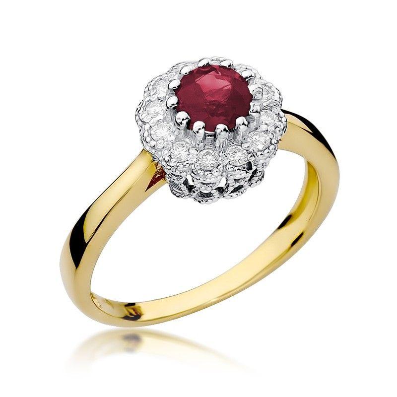 Okrągły pierścionek z rubinem  0,60 ct