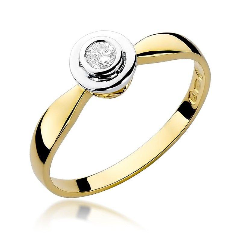 Pierścionek okrągły brylant 0,10 ct H/Si